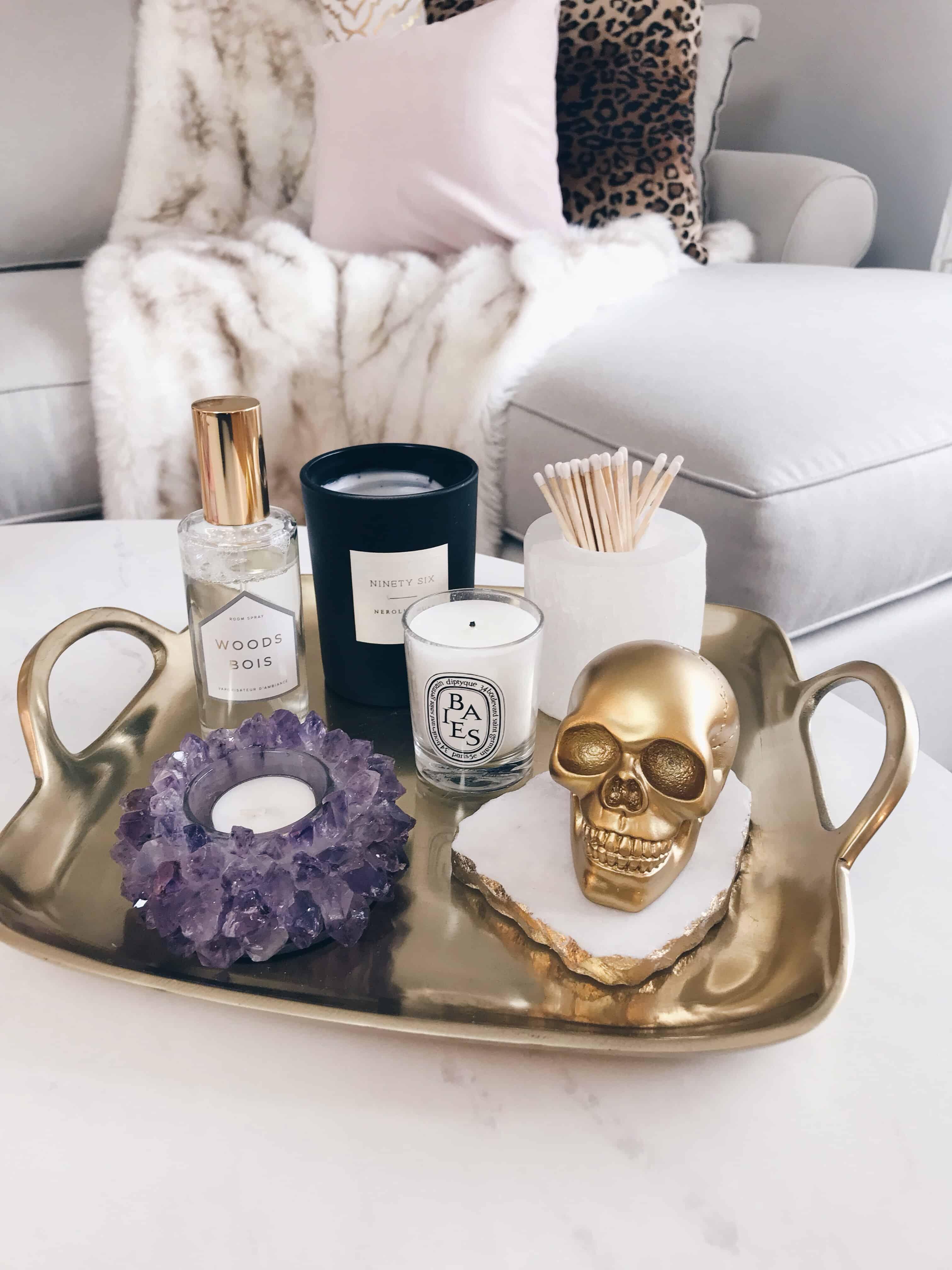glam tray decor