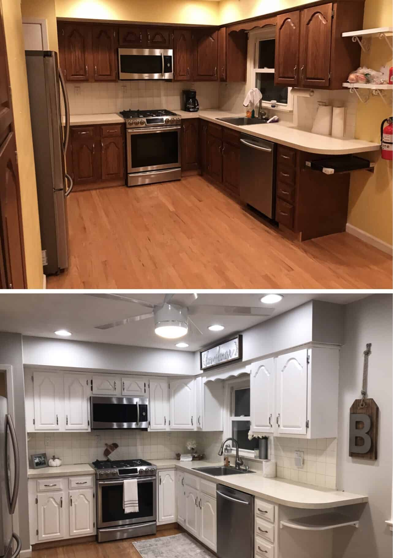 Before and after, Home decor, Interior design, Interior decor, Gray Paint, Sherwin Williams, Glam Decor, Redesign, Interior, Interior design, Home inspo, Decor inspo, cabinet transformation