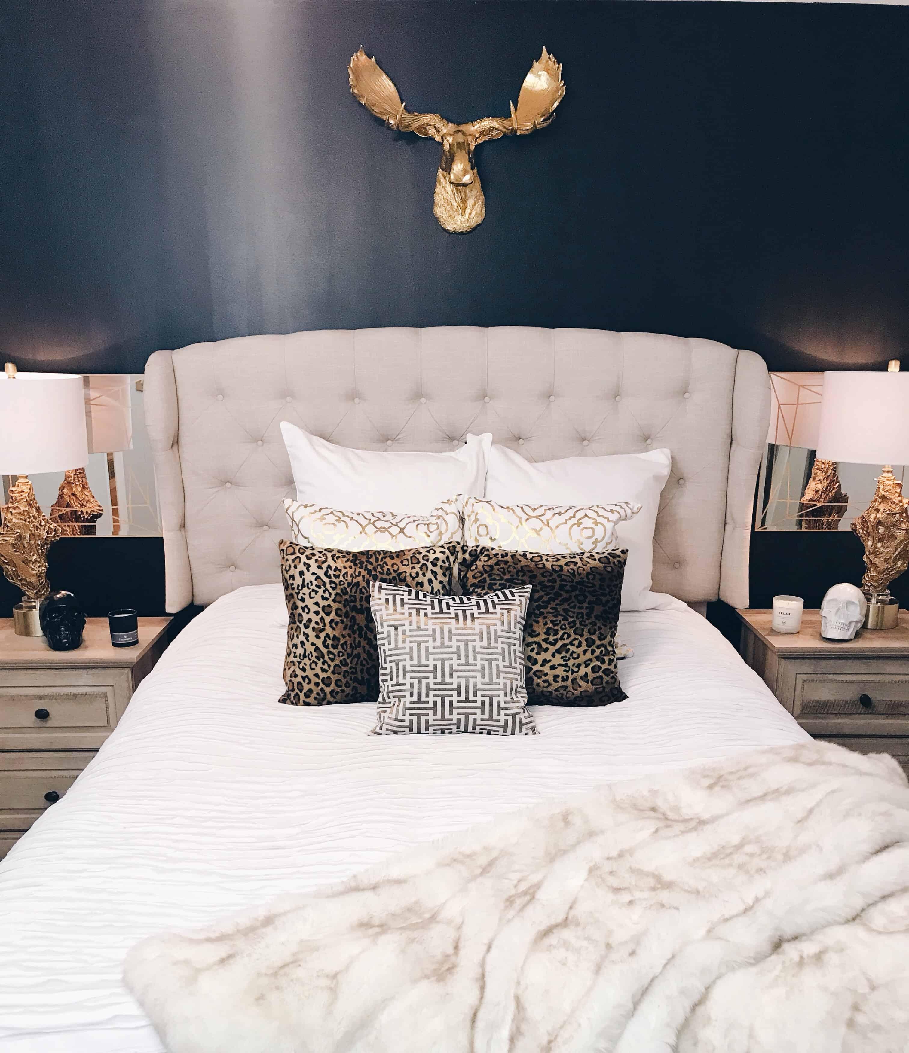 black gold bedroom glam