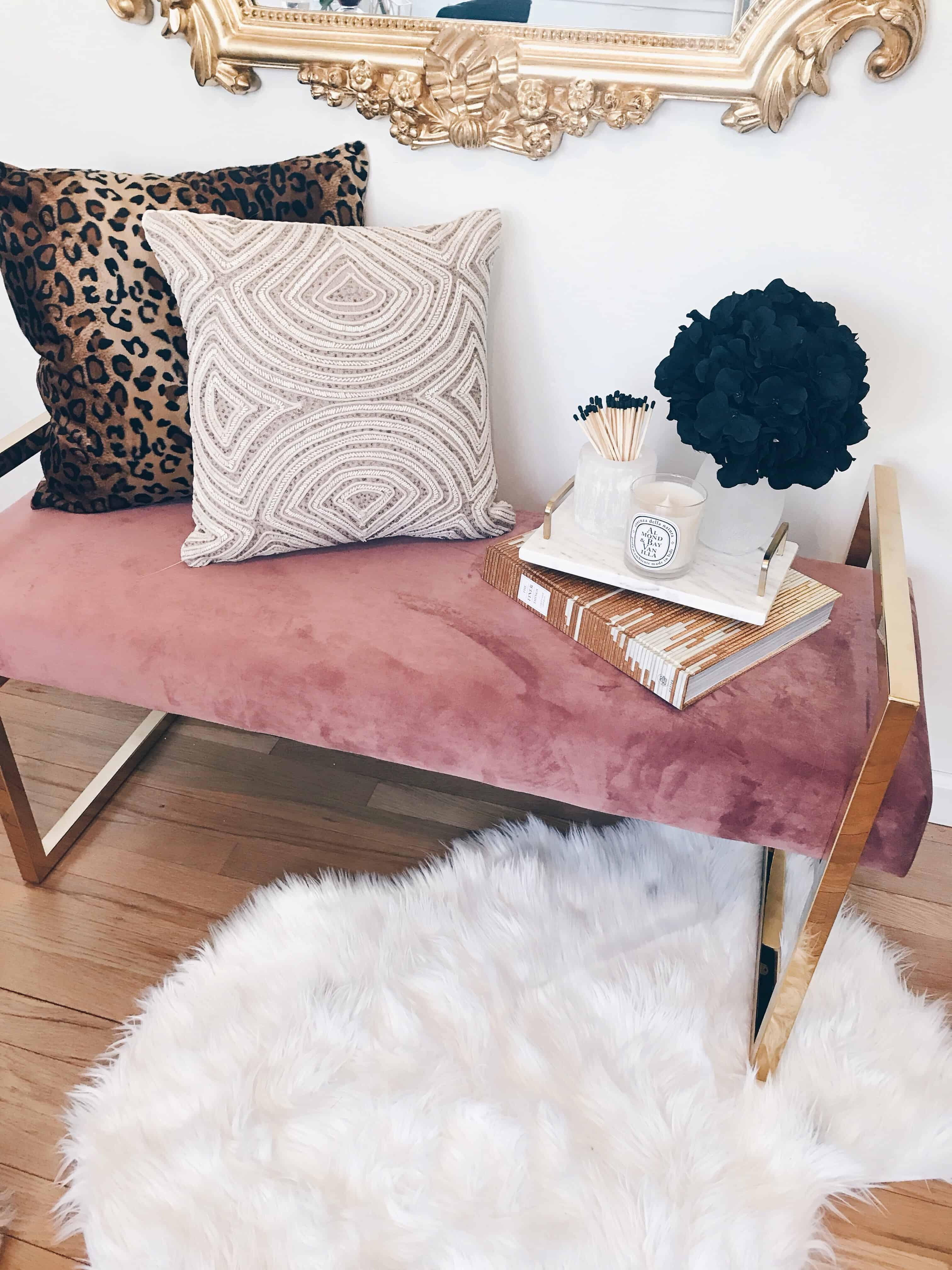 dusty pink bench