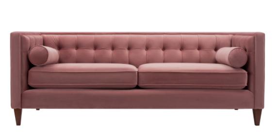 pink velvet tufted sofa