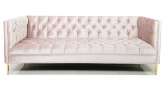 blush tufted velvet couch