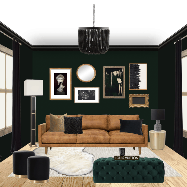 greenblack glam living room