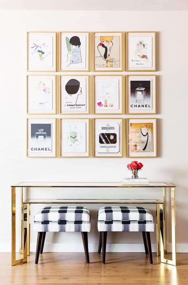 gold gallery wall frames