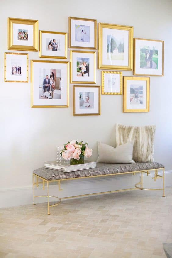 neutral gold gallery wall