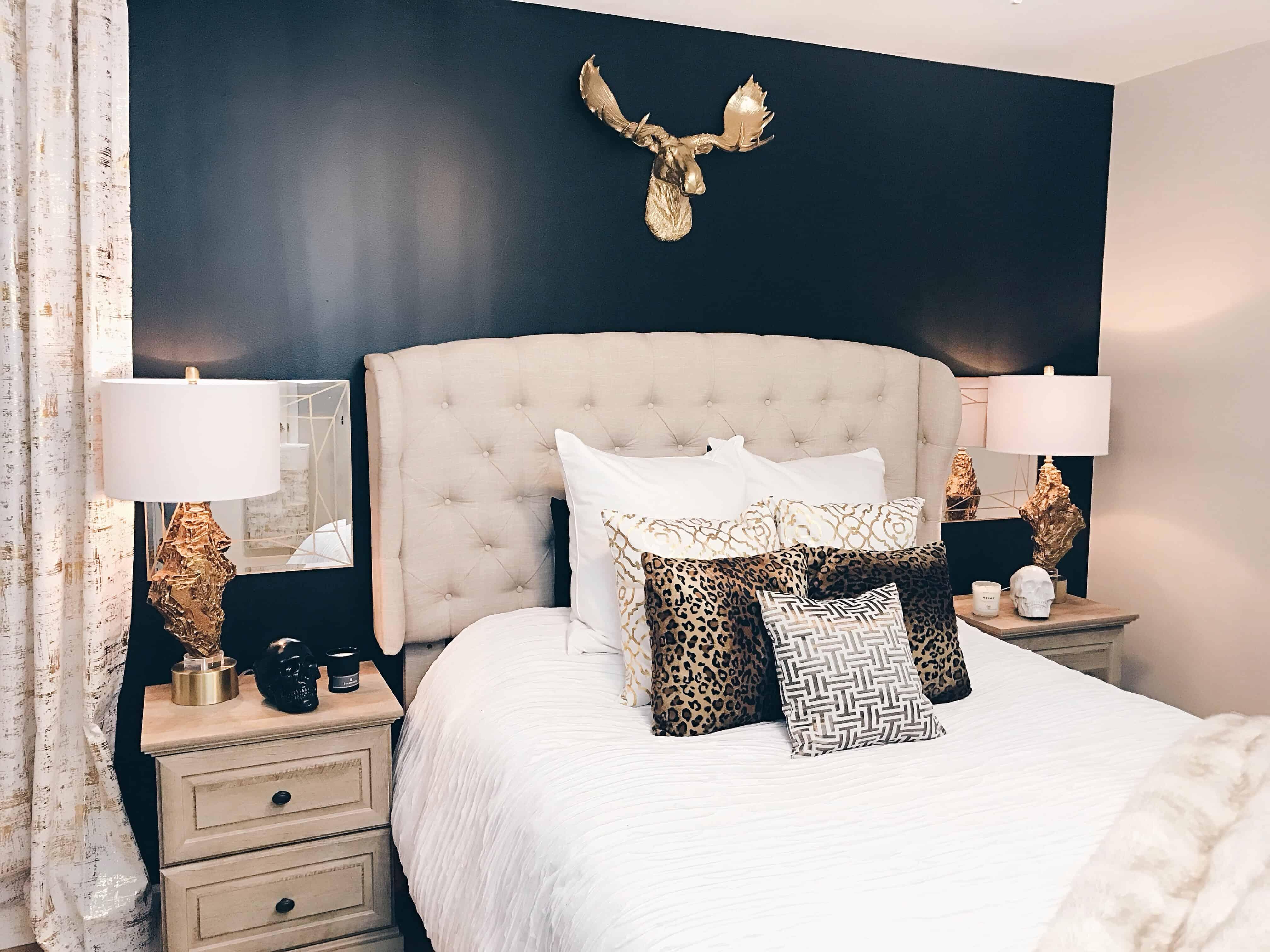black gold bedroom makeover