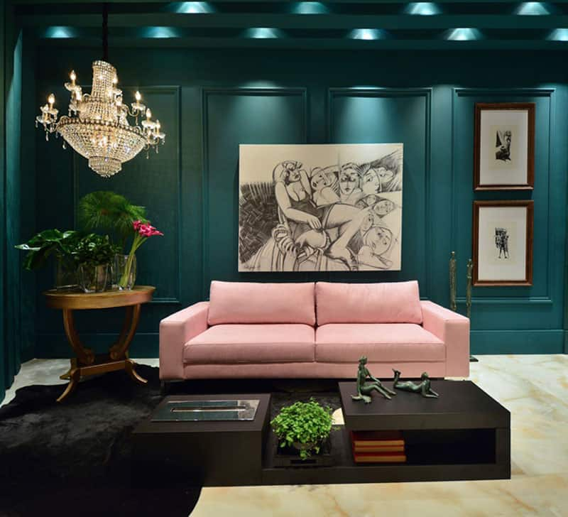 teal pink luxury room
