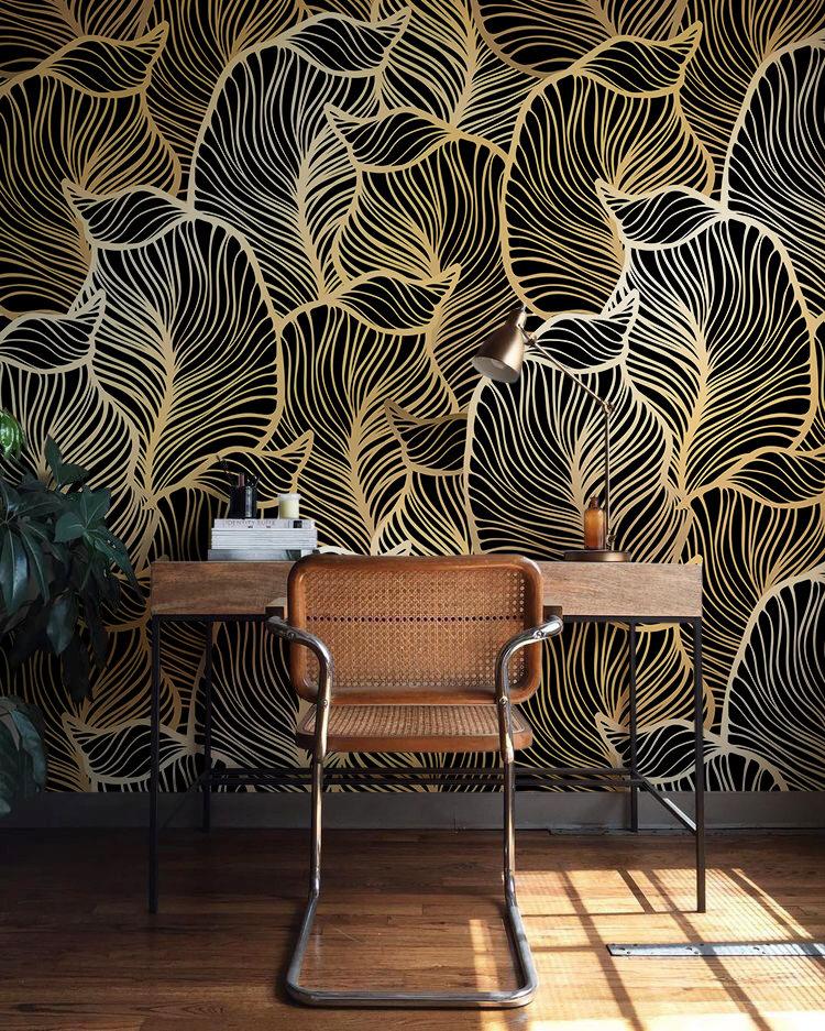 black gold leaf wallpaper