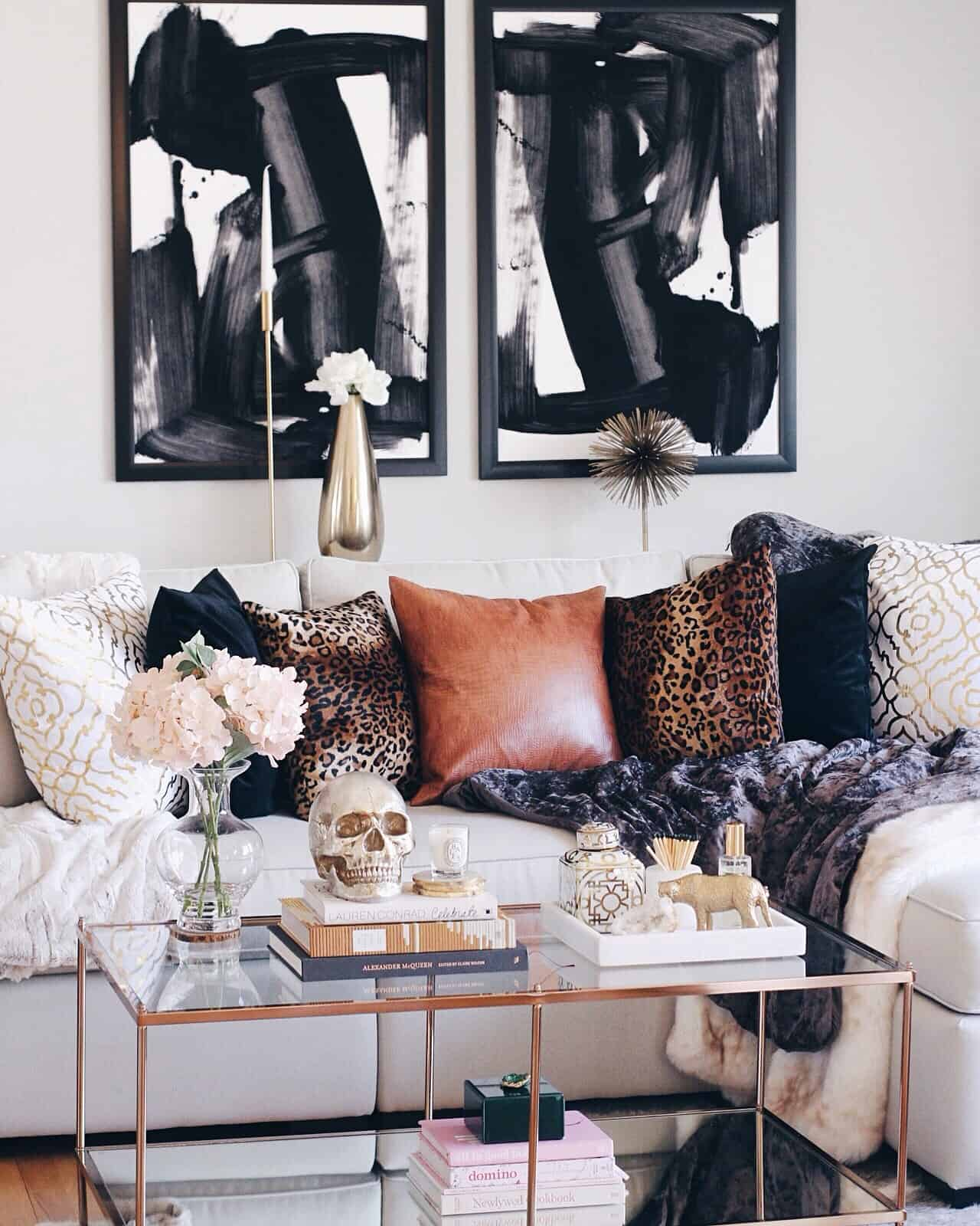 masculine glam living room