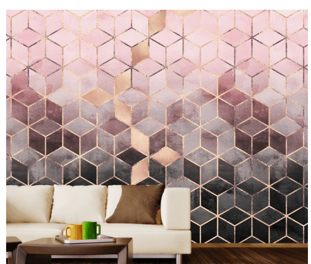 blush gray geometric gold