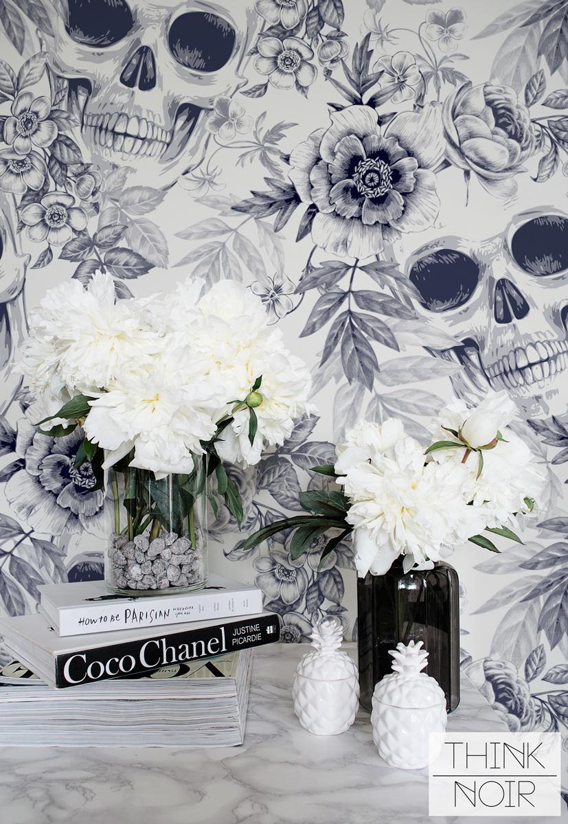 skull floral wallpaper