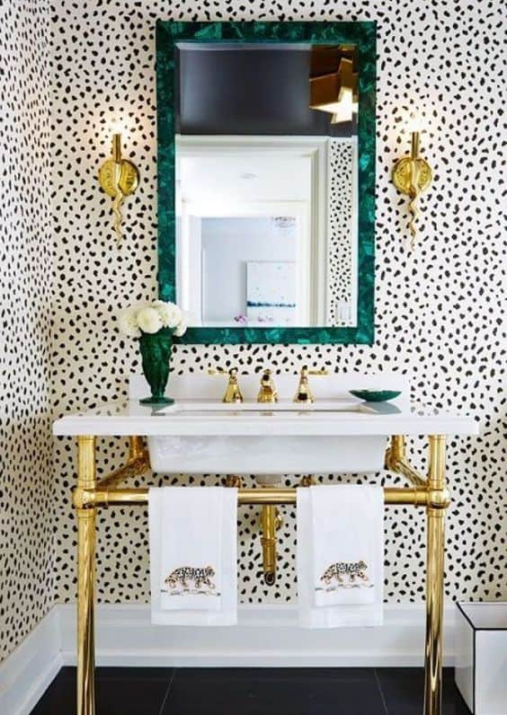 black and white and gold bathroom