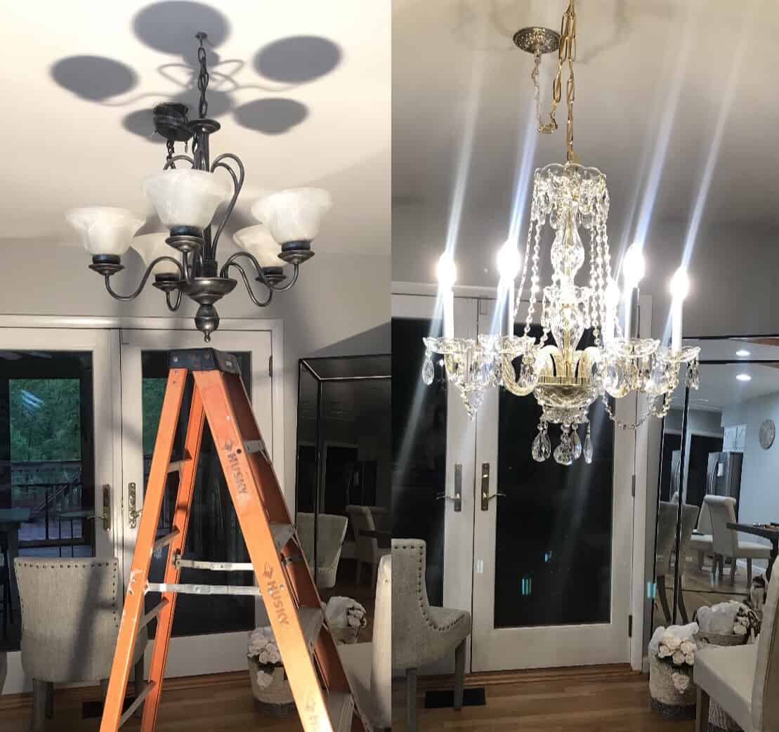 dining room chandelier before and after