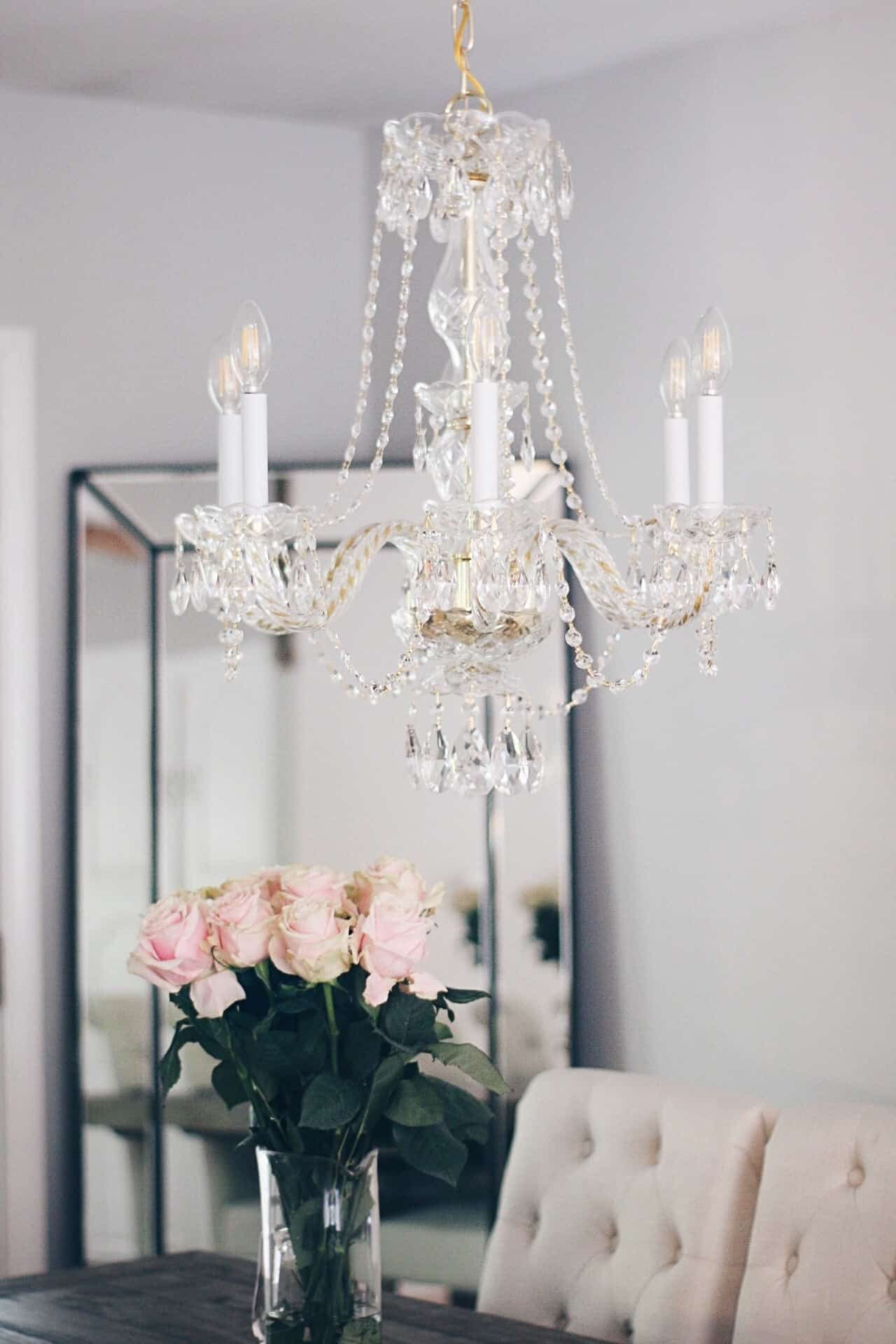 crystal chandelier rustic glam