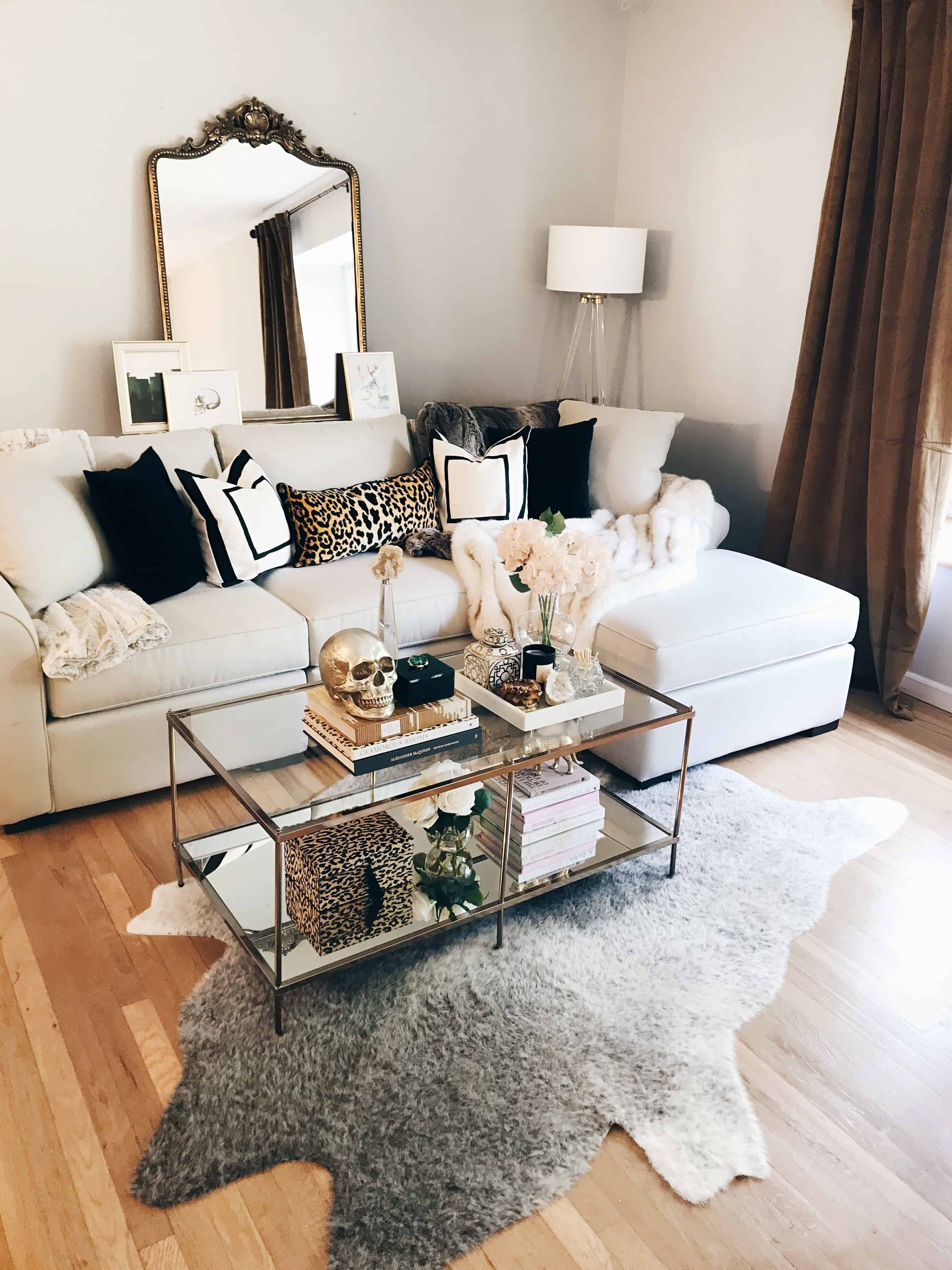 living room masculine glam