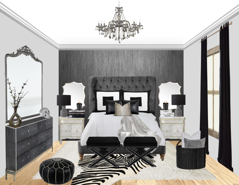 gray bedroom glam