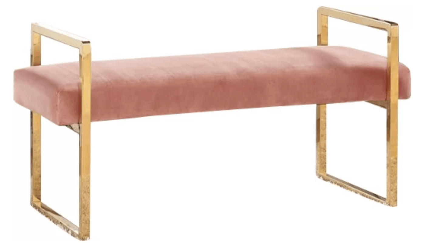 elmwood upholstered velvet blush bench