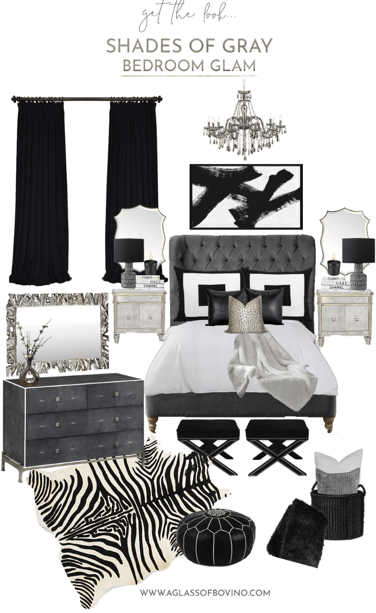 shades of gray bedroom glam