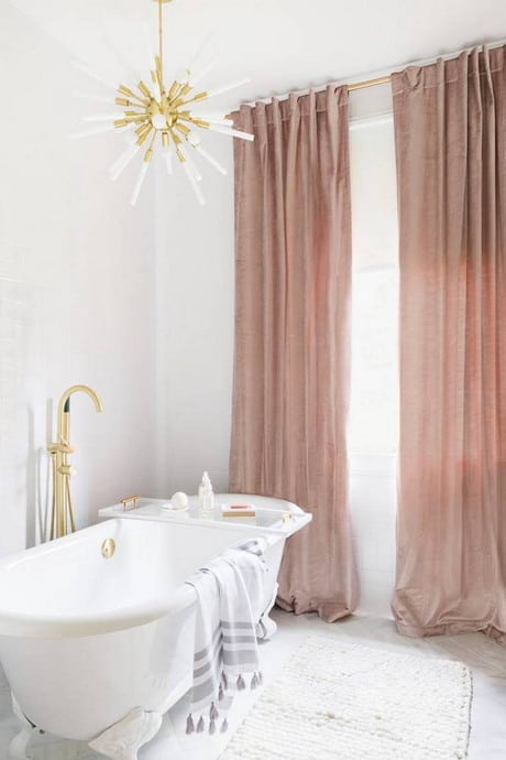 blush velvet curtains
