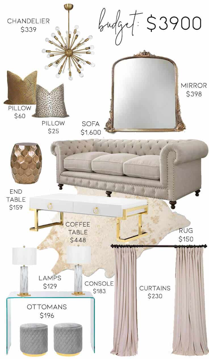 3 Neutral Glam Living Room Designs on 3 Different Budgets