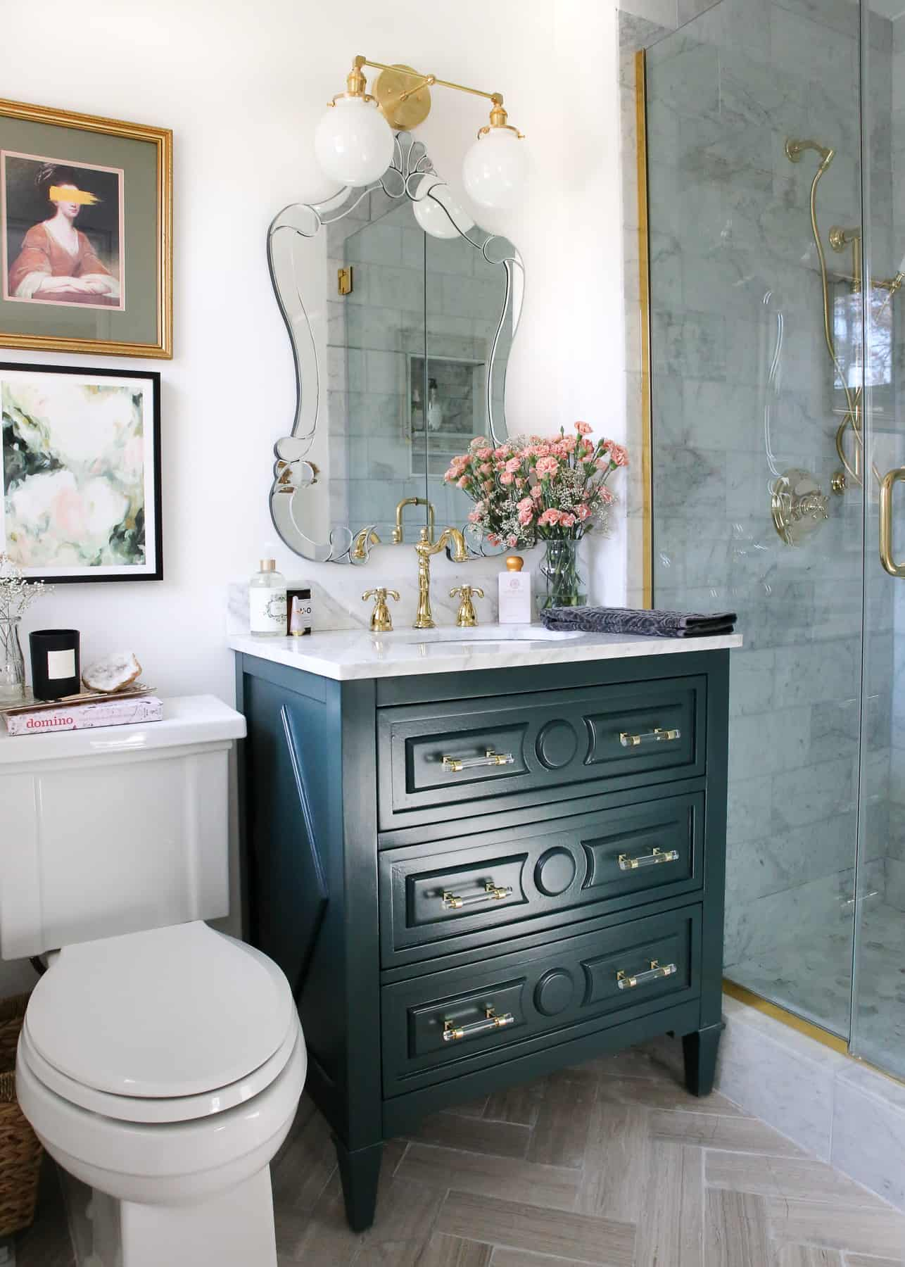 One Room Challenge, The Reveal: A Small Luxe Parisian Master Bathroom