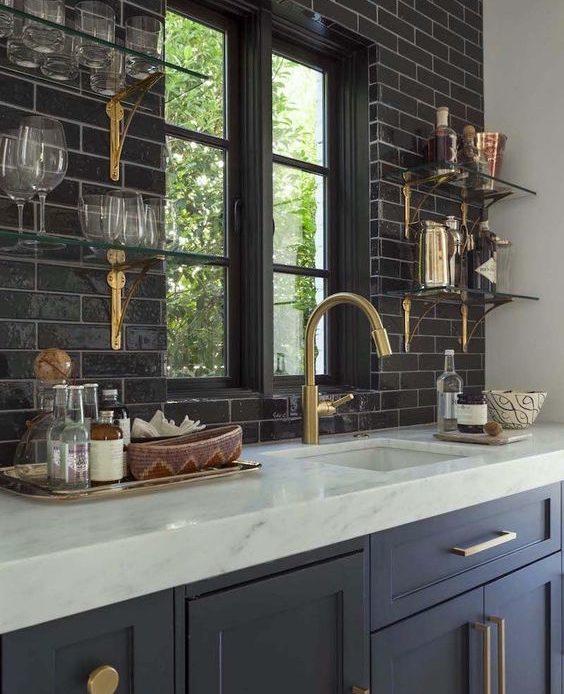 black window trim black tiles
