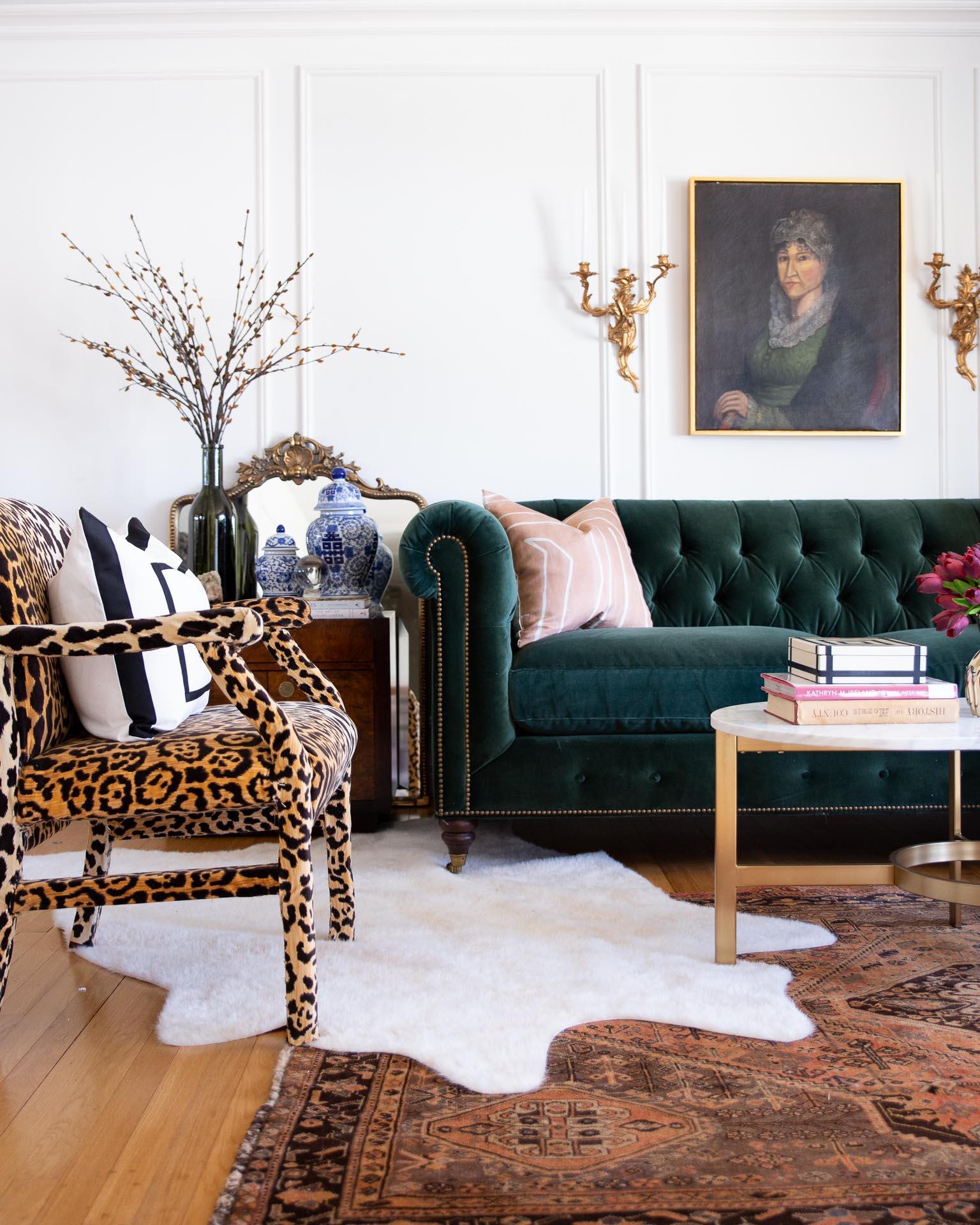 green-sofa-vintage-tribal-rug