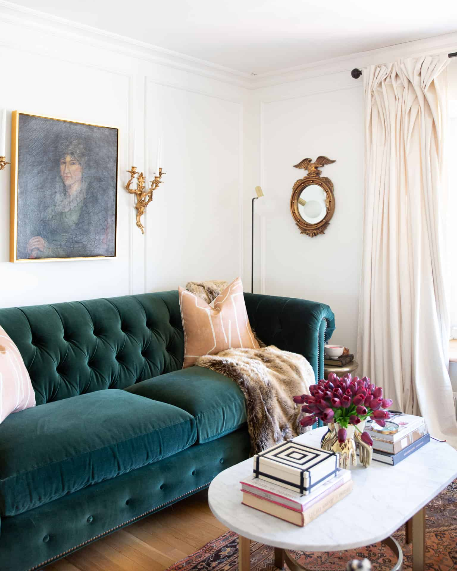 green-velvet-sofa-traditional-glamour-living-room
