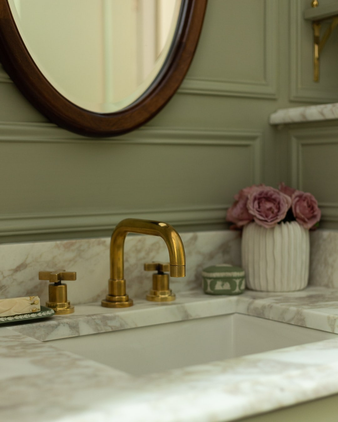 Rohl Faucet A Glass Of Bovino, Unlacquered Brass Bathroom Faucet