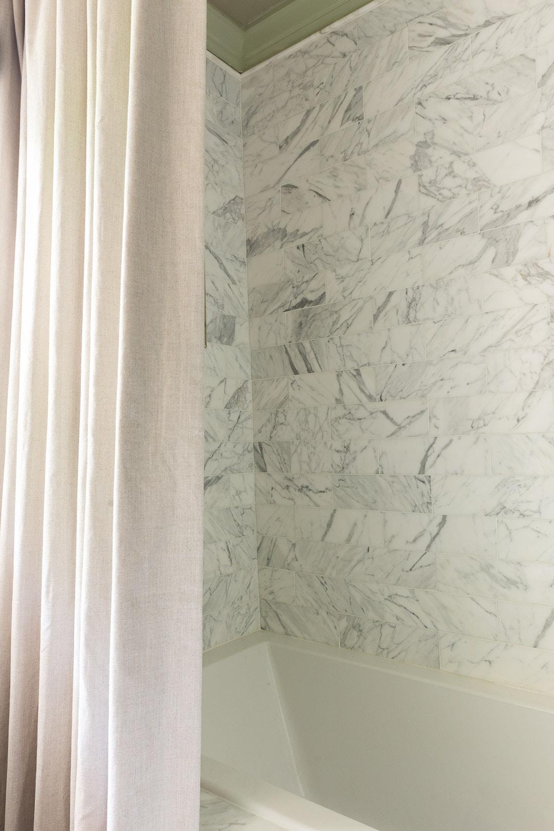 linen-shower-curtain-marble-shower-tile-calacatta-marble