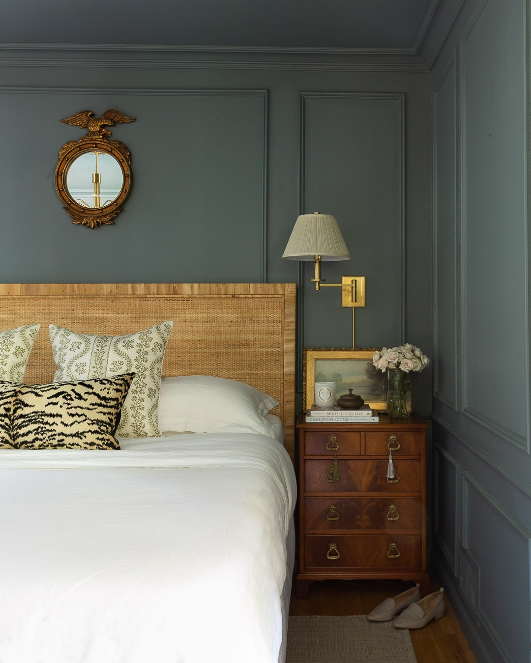 modern-new-traditional-bedroom-makeover-gold-curtains-blue-walls